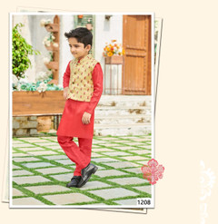 Red shade Cotton Silk Fabric Kids Kurta Pajama Set