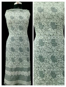 Grey and White color Georgette Fabric Short Kurti