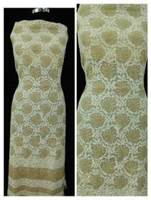 Beige and White color Georgette Fabric Short Kurti