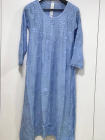 Blue color Muslin Fabric Embroidered Kurti