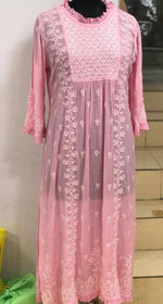 Pink color Muslin Fabric Embroidered Kurti