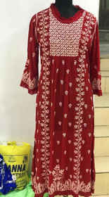 Red color Muslin Fabric Embroidered Kurti
