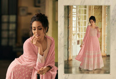 Pink color Georgette Fabric Anarkali style Embroidered Suit