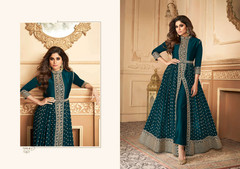 Turquoise Blue color Georgette Fabric Full Sleeves Floor Length Centre Cut Ban Neck Design Indowestern style Suit