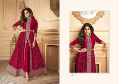 Magenta color Georgette Fabric Full Sleeves Floor Length Centre Cut Ban Neck Design Indowestern style Suit