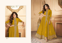 Mustard Yellow color Georgette Fabric Full Sleeves Floor Length Centre Cut Ban Neck Design Indowestern style Suit