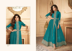 Blue color Georgette Fabric Full Sleeves Floor Length Centre Cut Ban Neck Design Indowestern style Suit