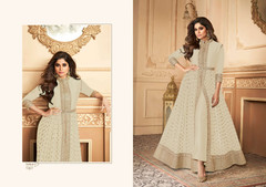 Ivory color Georgette Fabric Full Sleeves Floor Length Centre Cut Ban Neck Design Indowestern style Suit