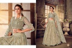 Greenish Grey color Soft Net Fabric Lehenga Choli