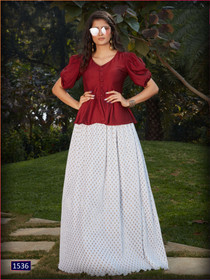 Red and White color Cotton Silk and Imported Fabric Top and Bottom