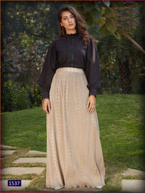 Beige and Black color Cotton and Imported Fabric Top and Bottom