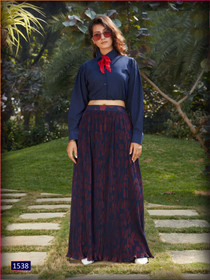 Royal Blue color Georgette and Imported Fabric Top and Bottom