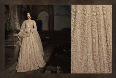 Beige color Full Sleeves Floor Length Net Fabric Anarkali style Suit