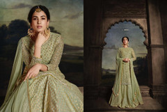 Olive Green color Full Sleeves Floor Length Net Fabric Anarkali style Suit