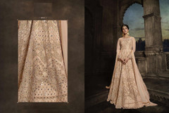 Powder Peach color Full Sleeves Floor Length Net Fabric Anarkali style Suit