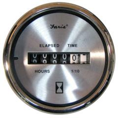 "Faria Spun Silver 2"" Hourmeter Gauge - Analog [16020]"
