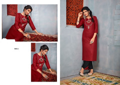 Maroon and Black color Rayon Fabric Top and Bottom