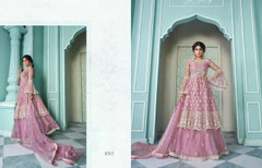 Pink color Net Fabric Embroidered Indowestern style Suit