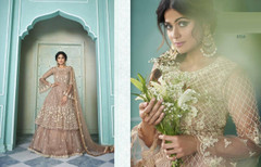 Beige color Net Fabric Embroidered Indowestern style Suit