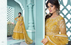 Yellow color Net Fabric Embroidered Indowestern style Suit