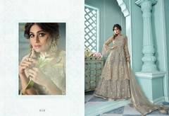 Grey color Net Fabric Embroidered Indowestern style Suit