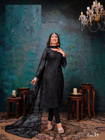 Black color Net Fabric Embroidered Suit