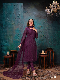 Purple color Net Fabric Embroidered Suit