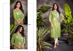 Green color Cotton Fabric Bottom and Top