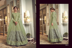 Olive Green color Centre Cut Floor touch Net Fabric Indowestern style Suit