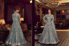 Grey color Full Sleeves Floor touch Net Fabric Anarkali style Suit
