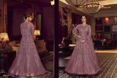 Mauve color Full Sleeves Floor touch Net Fabric Anarkali style Suit