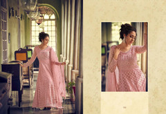 Pink color Full Sleeves Floor Length Net Fabric Anarkali style Suit