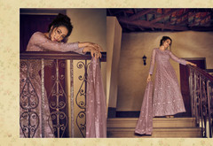 Mauve color Full Sleeves Floor Length Net Fabric Anarkali style Suit