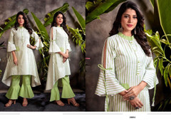 White and Green color Cotton Fabric Top and Bottom