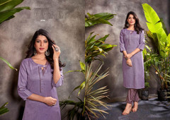Light Purple color Cotton Fabric Top and Bottom