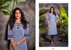 Light Blue color Cotton Fabric Top and Bottom