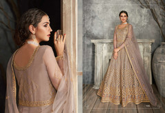 Grey color Floor Length Full Sleeves Net Fabric Embroidered Anarkali style Suit