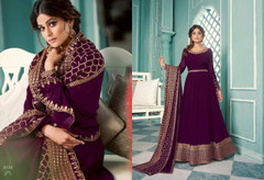 Purple color Georgette Fabric Full Sleeves Floor Length Anarkali style Suit