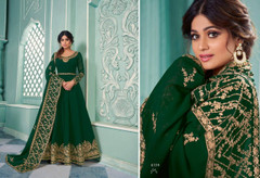 Green color Georgette Fabric Full Sleeves Floor Length Anarkali style Suit
