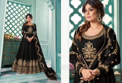 Black color Georgette Fabric Full Sleeves Floor Length Anarkali style Suit