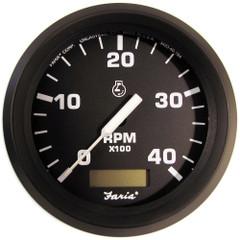 "Farai Euro Black 4"" Tachometer w\/Hourmeter (4000 RPM) (Diesel) (Magnetic Pick-Up) [32841]"