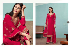 Pink color Pure Viscose Bamberg Georgette Fabric Suit