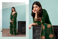 Pista Green color Pure Viscose Bamberg Georgette Fabric Suit