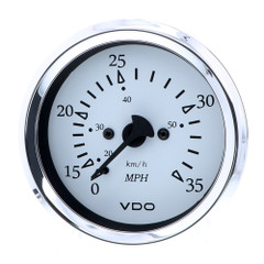 "VDO Cockpit Marine 85MM (3-3\/8"") Pitot Speedometer - 0 to 35 MPH - White Dial\/Chrome Bezel [260-15271]"