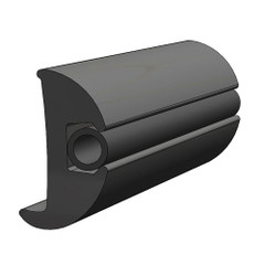 "TACO Flexible Vinyl Black Rub Rail 1-1\/16"" x 1-7\/8"" 50L [V11-2423BKA50-1]"