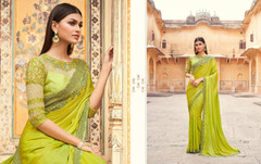 Olive Green color Two Tone Silk Fabric Saree