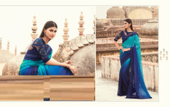 Double shade Blue color Two Tone Georgette Fabric Saree
