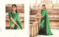 Green and Black color Two Tone Georgette Fabric Saree