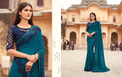 Blue color Blooming Georgette Fabric Saree