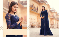 Royal Blue color Blooming Georgette Fabric Saree